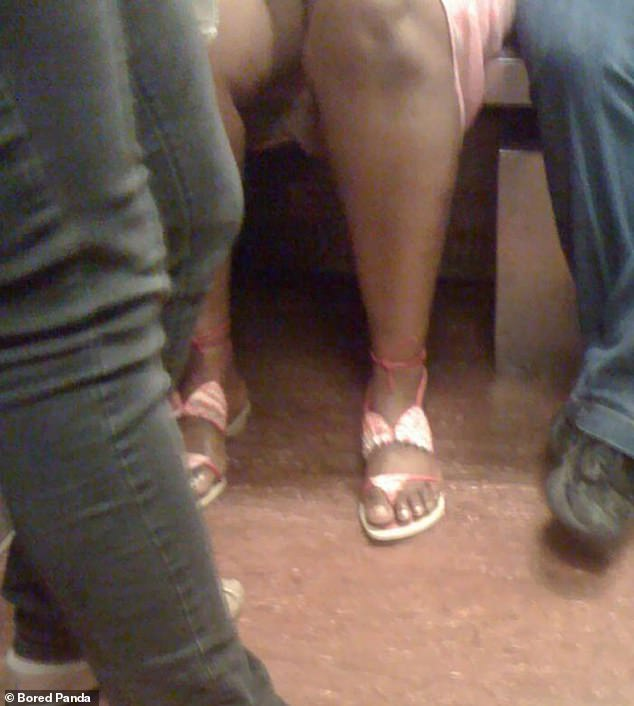 This commuter, from an unknown location, was spotted donning a pair of flip flops designed to look like sequinned bikinis