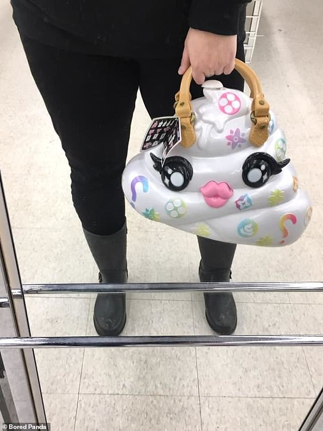 This woman, from an unknown location, picked up a Louis Vuitton fake bag shaped like a white poo emoji - complete with symbols