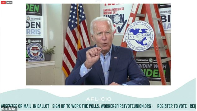 Democratic nominee Joe Biden took part in a virtual event but from the AFL-CIO headquarters Monday in Harrisburg, Pennsylvania to mark Labor Day. There he again went after President Donald Trump for the Atlantic reporting he had called American war dead 'losers' and 'suckers'