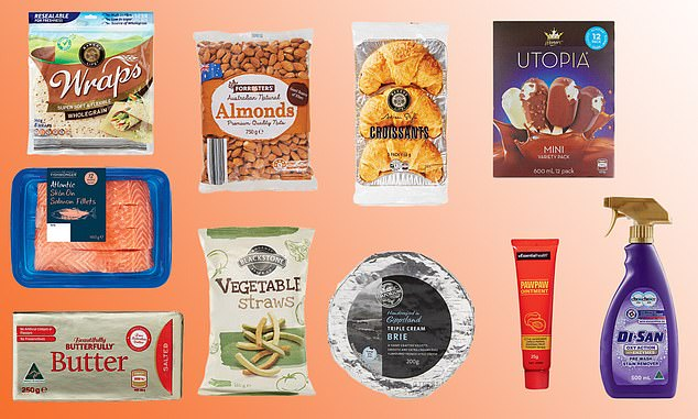 Aldi shoppers have named the top 10 products at the store for 2020, including a $4.49 'heavenly' cheese and the $1.29 cleaning product that always sells out (the top 10 pictured)
