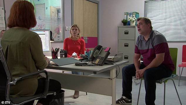 Distanced: Meanwhile, at a hospital visit Leanne Tilsley (Jane Danson) and Steve McDonald (Simon Gregson) kept a 2 metre distance from each other and their fellow cast member