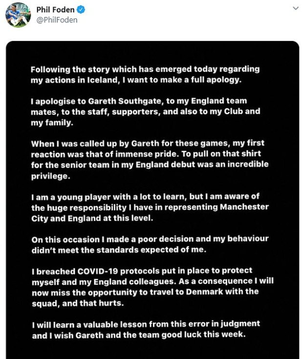 Foden has since issued a statement apologizing to England, the city and his family.