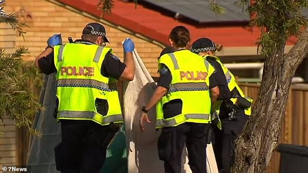 Pictured: Police at the scene following Mr Conwell's tragic death on September 2 in Brisbane