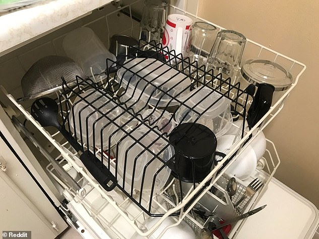 An upside down dish rack (pictured) can be used to secure loose containers in the dishwasher, preventing them flipping and filling with water during the cleaning cycle