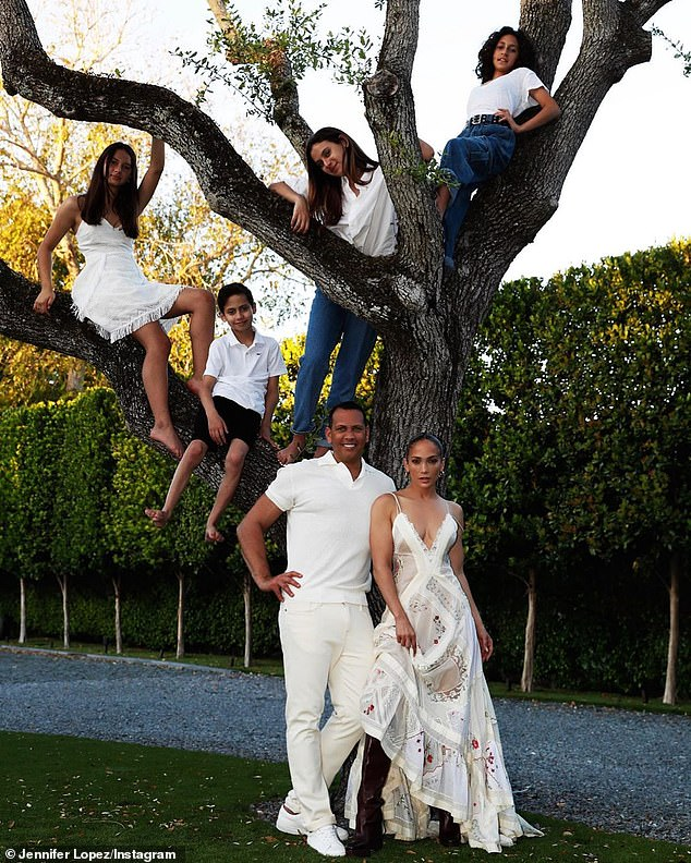 Blended brood: It's hard to believe Lopezis mother to 12-year-old twins Max & Emme Muñiz, whom she raises with fiancé Alex Rodriguez and his two daughters (pictured September 7)