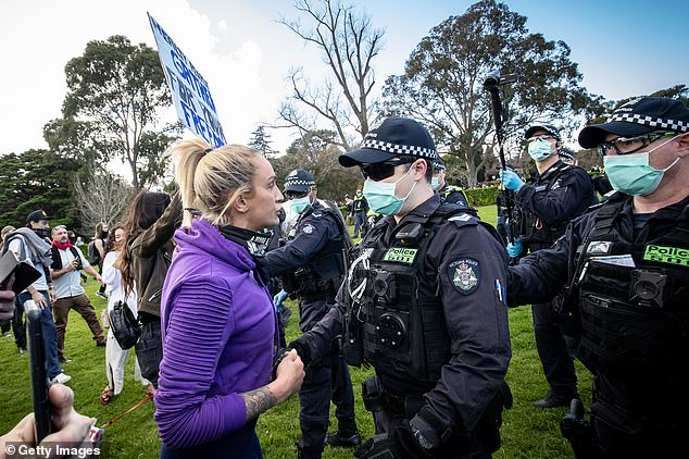 Married At First Sight star Hayley Vernon (pictured) attended and anti-lockdown protest on Saturday in Melbourne