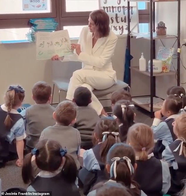 Visit: The 28-year-old shared a video to Instagram while reading to the young children and wrote: 'Highlight of my day'
