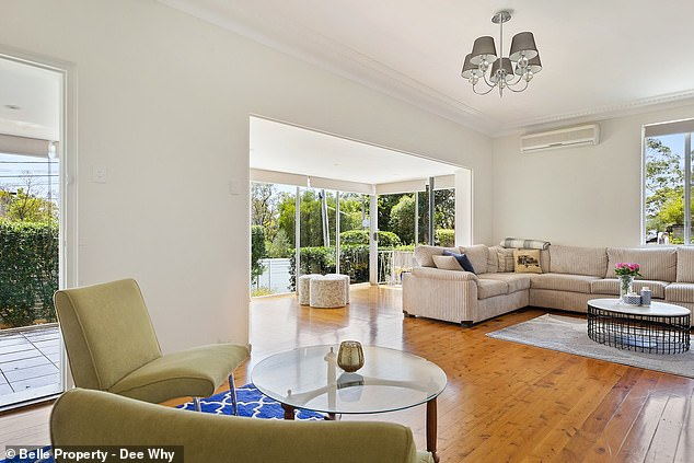 Spacious:The contemporary home features four bedrooms, three bathrooms, and a large outdoor entertaining area for their baby to play in. The main bedroom features a built-in robe and ensuite