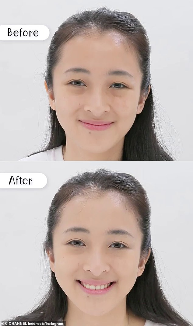 'Jamsu', which loosely translates as 'to submerge', is designed to help tackle oily skin by making the skin matte, and it also claims to make your makeup transfer-proof to ensure an even and long-lasting look (pictured before and after)