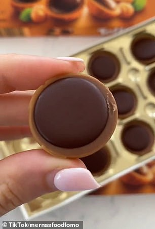 Toffifee features a caramel shell filled with a creamy nougat, a crunchy hazelnut, and topped with a drop of rich chocolate