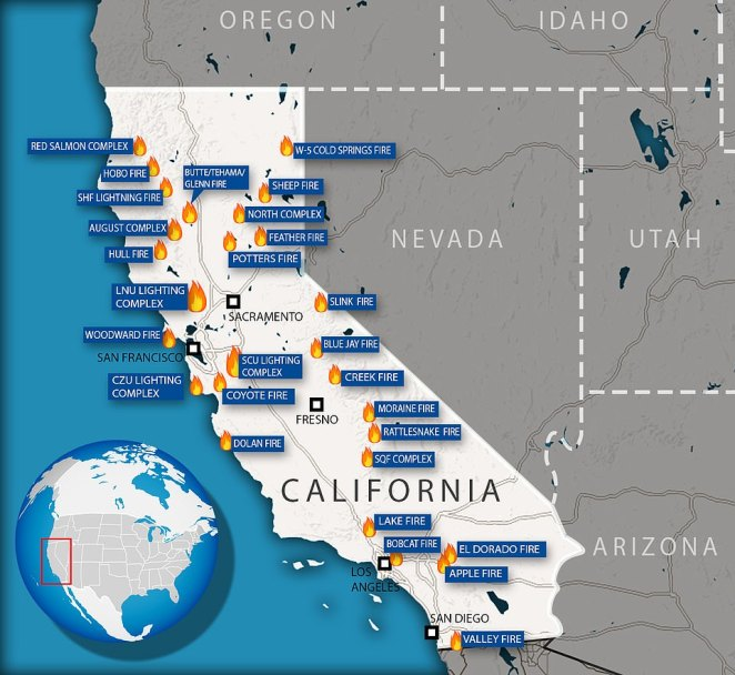 In California14,100 fire fighters are battling 24 separate blazes, which have collectively destroyed 2 million acres