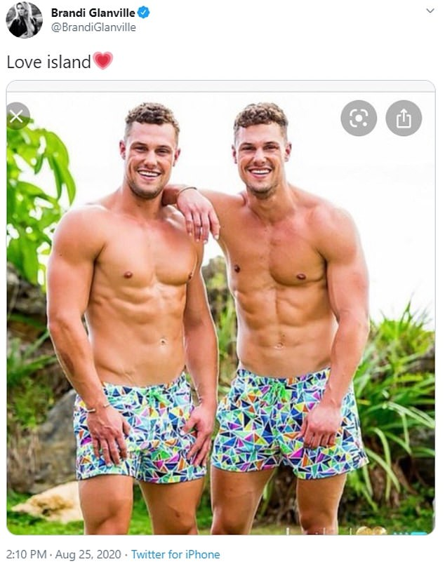 Keen?Brandi's been open about her love of Aussie men, and she recently set her sights on Love Island Australia's hunky twin brothers, Luke and Josh Packham, who are 26