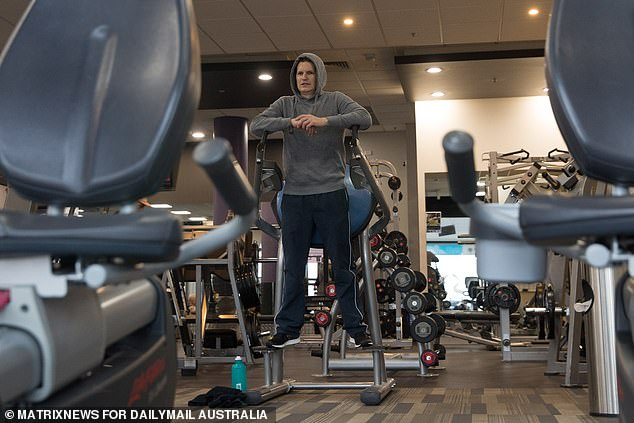 Gyms reopened in Victoria on June 22 only to be closed again less than three weeks later. Pictured is a man working out in a Geelong gym before the second coronavirus wave hit