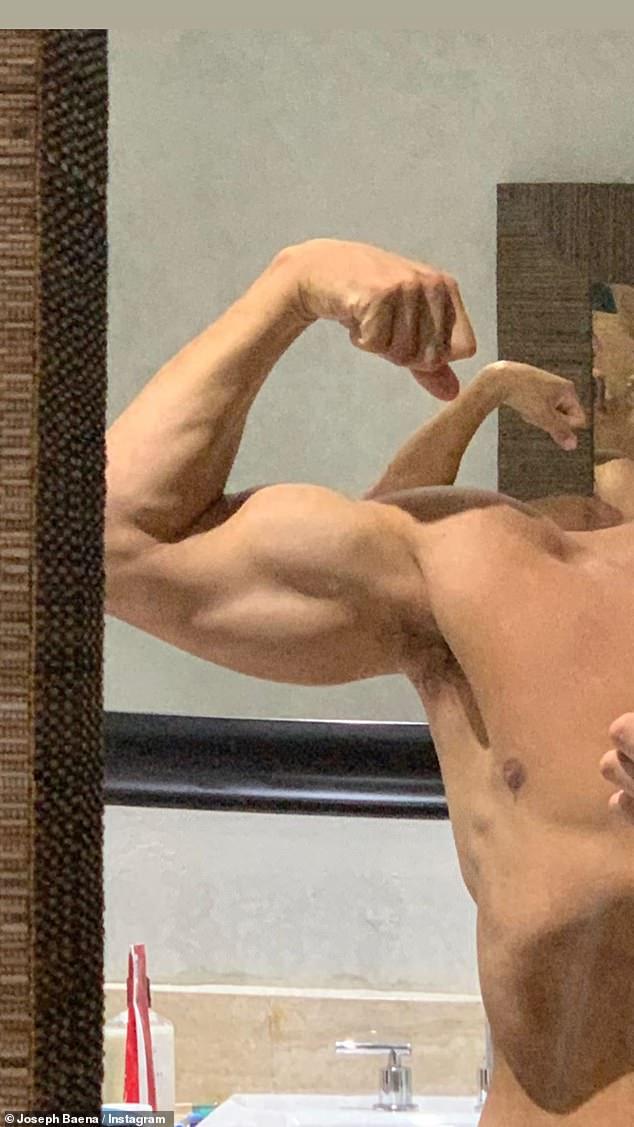 Pumped up: Arnold Schwarzenegger's son Joseph Baena flexed his bulging bicep in selfie
