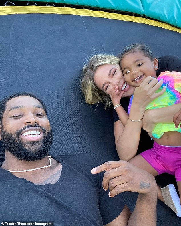 Just the three of us: Khloe has been spending the COVID-19 pandemic at her Calabasas home with daughter True, two, and her baby daddy, NBA pro Tristan Thompson