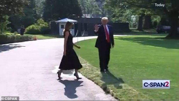 Several journalists reported that the video, dated August 2019, lacked context.  In the clip, Trump is seen walking on the South Lawn at the White House, where he is preparing to meet First Lady Melania Trump (pictured)