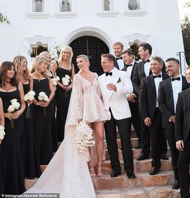 Excuses: The network blamed the failure on Karl's highly publicised marriage breakdown and subsequent romance with younger fashion model Jasmine Yarbrough (pictured on their wedding day). By the end of 2018, Channel Nine's 'two-million dollar man' was out