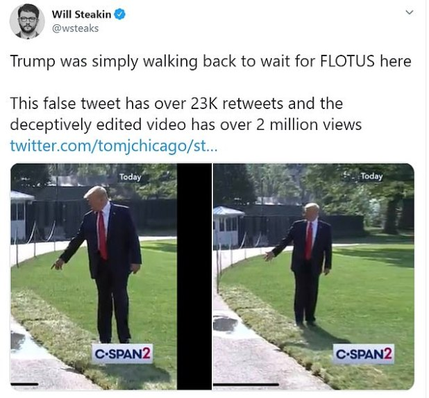 ABC News reporter Will Staykin tweeted on Monday that Trump was 'just walking back here waiting for Flotus'.  Stakin said: 'This false tweet has seen over 23K retweets and fraudulently edited videos over 2 million times'