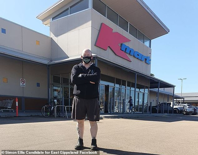 East Gippsland candidate Mark Ellis (pictured) said it was 'devastating' that Kmart Bairnsdale (pictured behind) will be closed down. The retail storewill shut its doors after 15 years on September 27 and be replaced with a Woolworths supermarket
