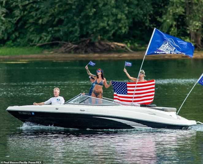A boat takes part in a pro-Trump boat parade on the West Branch of the Susquehanna River, Pennsylvania