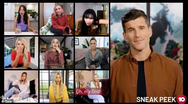 Oh no: . In the clip, host Osher Gunsberg (right) holds a group Zoom meeting for the remaining girls, where they see footage of the mystery blonde