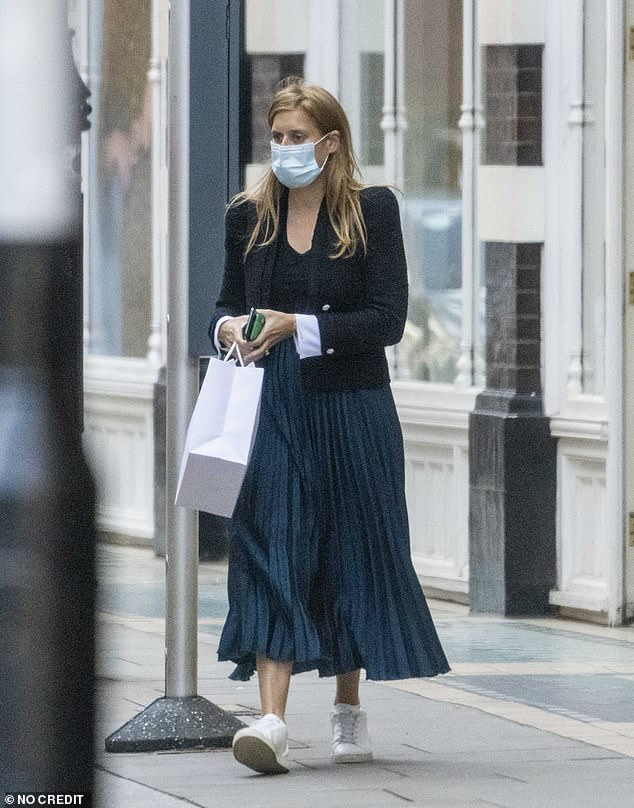The royal opted for a casual look and donned a facemask as she stepped out to shop in London earlier today