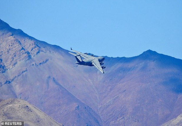 The Indian Air Force (IAF) C-17 Globemaster Transport plane flies over a mountain range in Leh in the Ladakh region.  8. The claims of both India and China were prevented from escalating amidst military tension, with a disputed border.  Nuclear armed nation