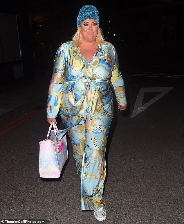 Happy days:Gemma appeared in great spirits as she flashed a smile after her restaurant visit and even posed for selfies with fans outside Beigel Bake