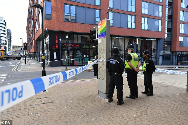 Officers have also cordoned off an area in the city's LGBT area, known as 'Gay Village', following the stabbings in Birmingham