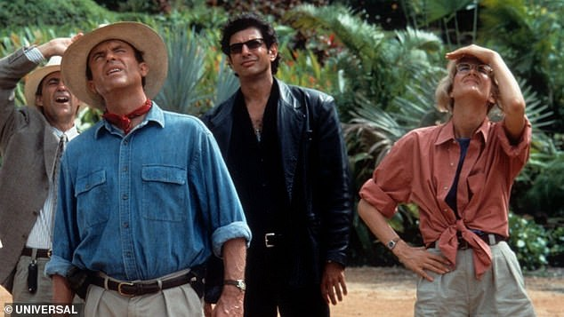 Sequel: The actress has been filming at Pinewood Studios, England, with her original Jurassic Park co-stars Sam Neill and Jeff Goldblum - returning as a trio for the first time in the sixth film in the franchise [pictured in Jurassic Park]