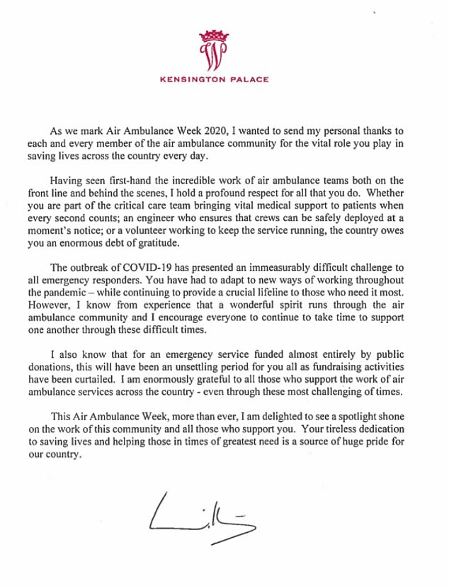 The Duke penned the open letter to the UK's 21 air ambulance charities thanking all who work, volunteer and support them