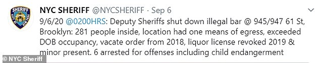 The Sheriff's office announced the shutdown on Sunday