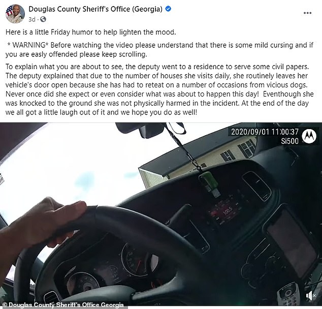 The Douglas Country Sheriff's Office also managed to see the funny side, and shared the bodycam footage to its Facebook page