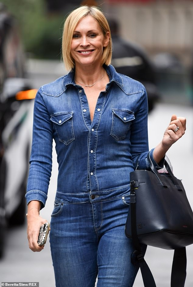 Stylish:The Scottish presenter, 44, caught the eye for all the right reasons as she left Global Radio Studios in the fitted one-piece and made her way across London's Leicester Square