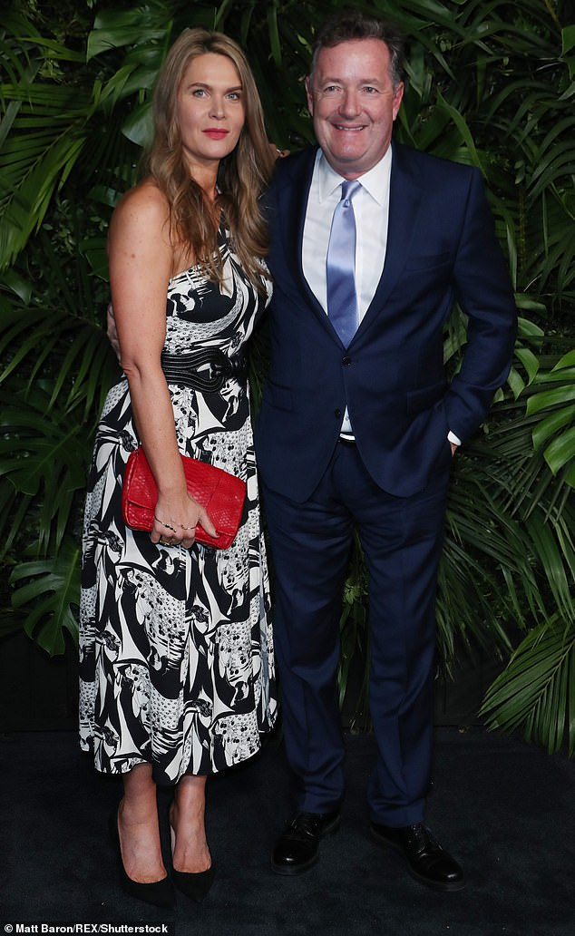 Sweet couple:Piers Morgan was left in hysterics after his lockdown weight gain became the subject of his wife Celia Walden's latest column (pictured in February)
