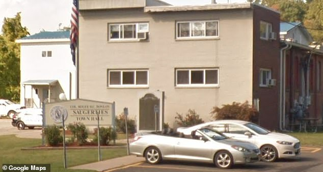 The 41-year-old called with no emergencies, and instead berated emergency dispatchers, screaming and shouting obscenities, police said. She then also started calling the Ulster County 911 center, tying up county emergency dispatchers (Pictured Saugerties Town/Police Station)