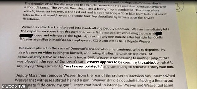 Police reports indicate that Weaver also lied about his role in the June 2019 brawl in Byron Township