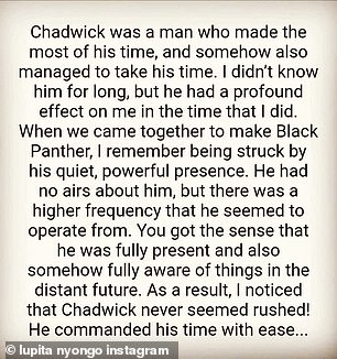 She wrote: 'I write these words from a place of hopelessness, to honor a man who had great hope. I am struggling to think about my friend, Chadwick Boseman, in the past tense'
