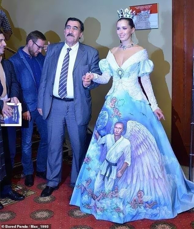 Another person, from an unknown location, posted a snap of this Russian woman wearing a dress adorned with a drawing of Vladimir Putin doing judo