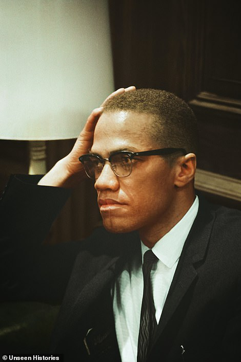 Avocal spokesman for the Nation of Islam Malcolm X, a human rights activist, pictured waiting at the Martin Luther King press conference on March 26, 1964, before the pair met for the first and only time on Capitol Hill