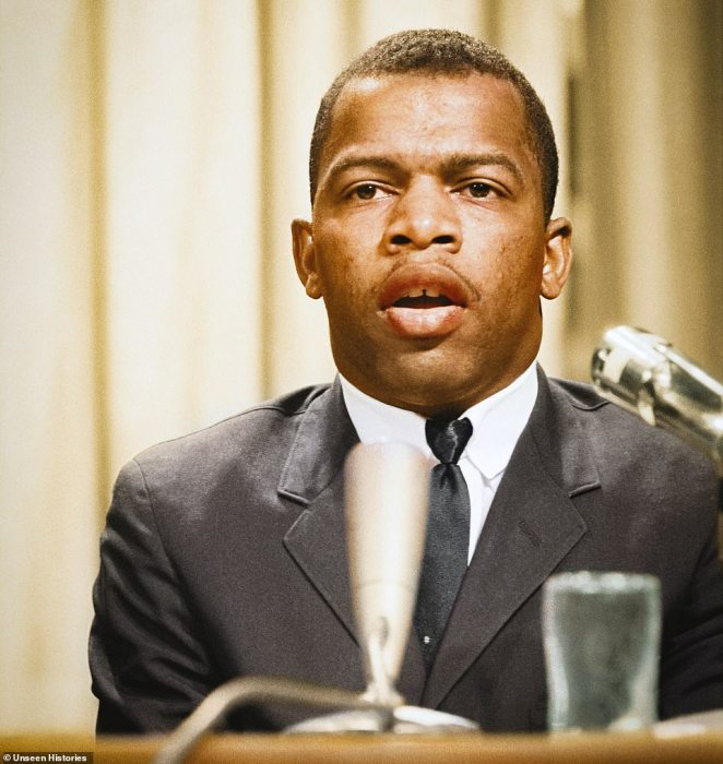 Civil rights leader John Lewis, who went on to serve in the United States House of Representatives until his death in July this year, speaking at a meeting of American Society Of Newspaper Editors, Statler Hilton Hotel, Washington DC on April 16, 1964