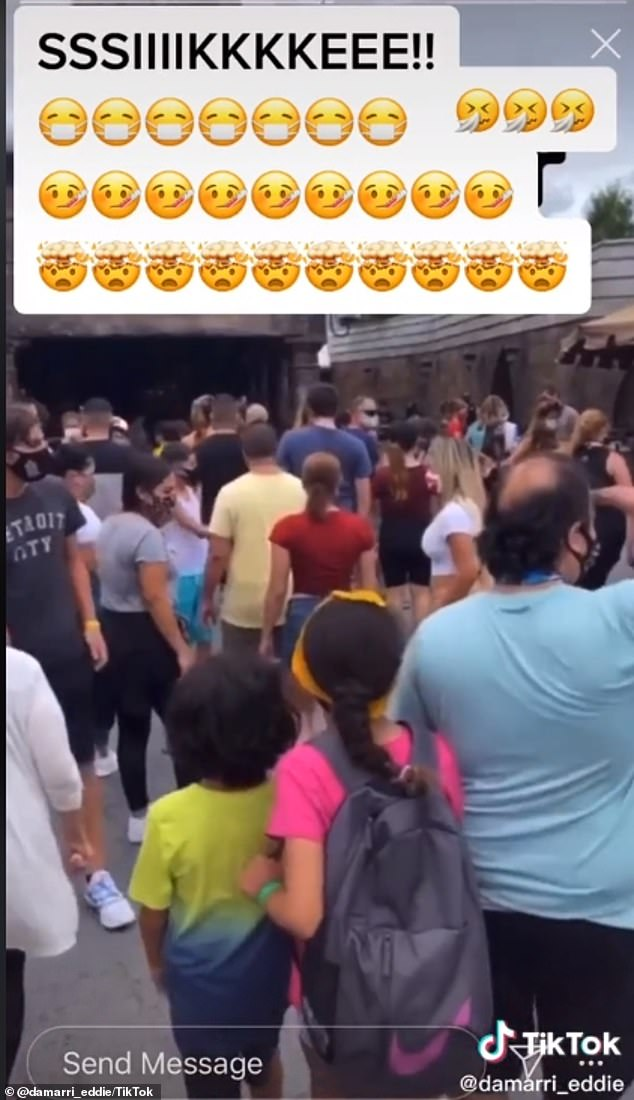 The tourists are in direct violation of a guideline put forward by Universal Orlando, which demands that they practice social distancing by keeping at least 6 feet between their travel party and others'