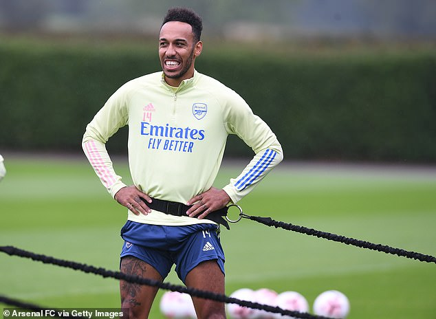 Pierre-Emerick Aubameyang was also pictured with the ropes around him during the shoot