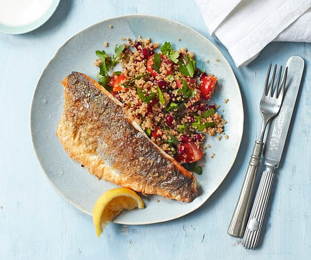 Dr Michael explained the Fast 800 plan is designed for overweight or obese people who want to lose up to a stone in just three weeks. Pictured: Crispy fish fillet with sweet quinoa