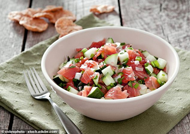 This scrumptious cottage cheese, cucumber and salmon lunch bowl can be made in less than ten minutes