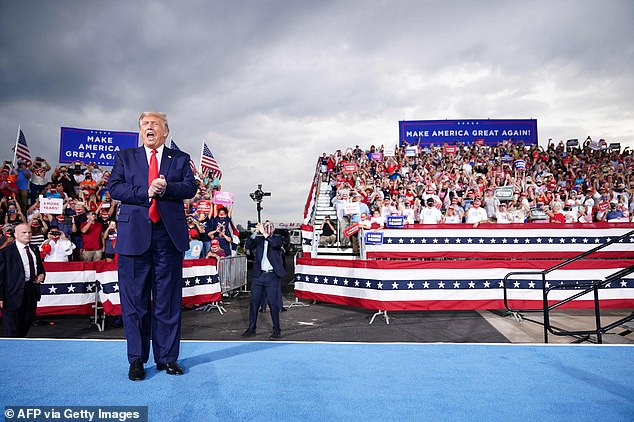 Trump was back on the campaign trail on Tuesday night, staging a rally atSmith-Reynolds Regional Airport
