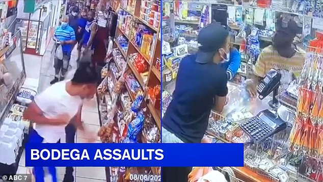 Two bodega workers who were attacked by customers in the Bronx for asking them to wear face coverings said they now fear for their lives because New York's mask laws 'could get someone killed'. Both attacks are pictured and happened within minutes of one another