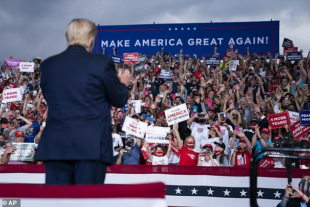 The president also tore into Joe Biden and his running mate, Kamala Harris, during the rally. Trump said it would be 'an insult to the country' if Harris became the first female president