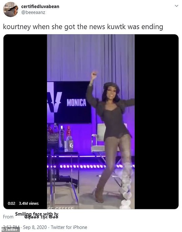Jumping for joy:Another video show a woman dancing around and celebrating. 'Kourtney when she got the news KUWTK was ending,' it read