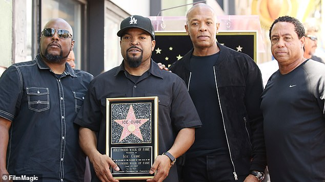 Rap legends: MC Red, Ice Cube, Dre and DJ Yella of N.W.A. are shown in June 2017 in Hollywood at the ceremony honoring Cube with a star on the Hollywood Walk of Fame